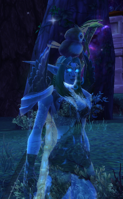 A druid with a bird on her head: an exercise of redundancy, and epic adorability